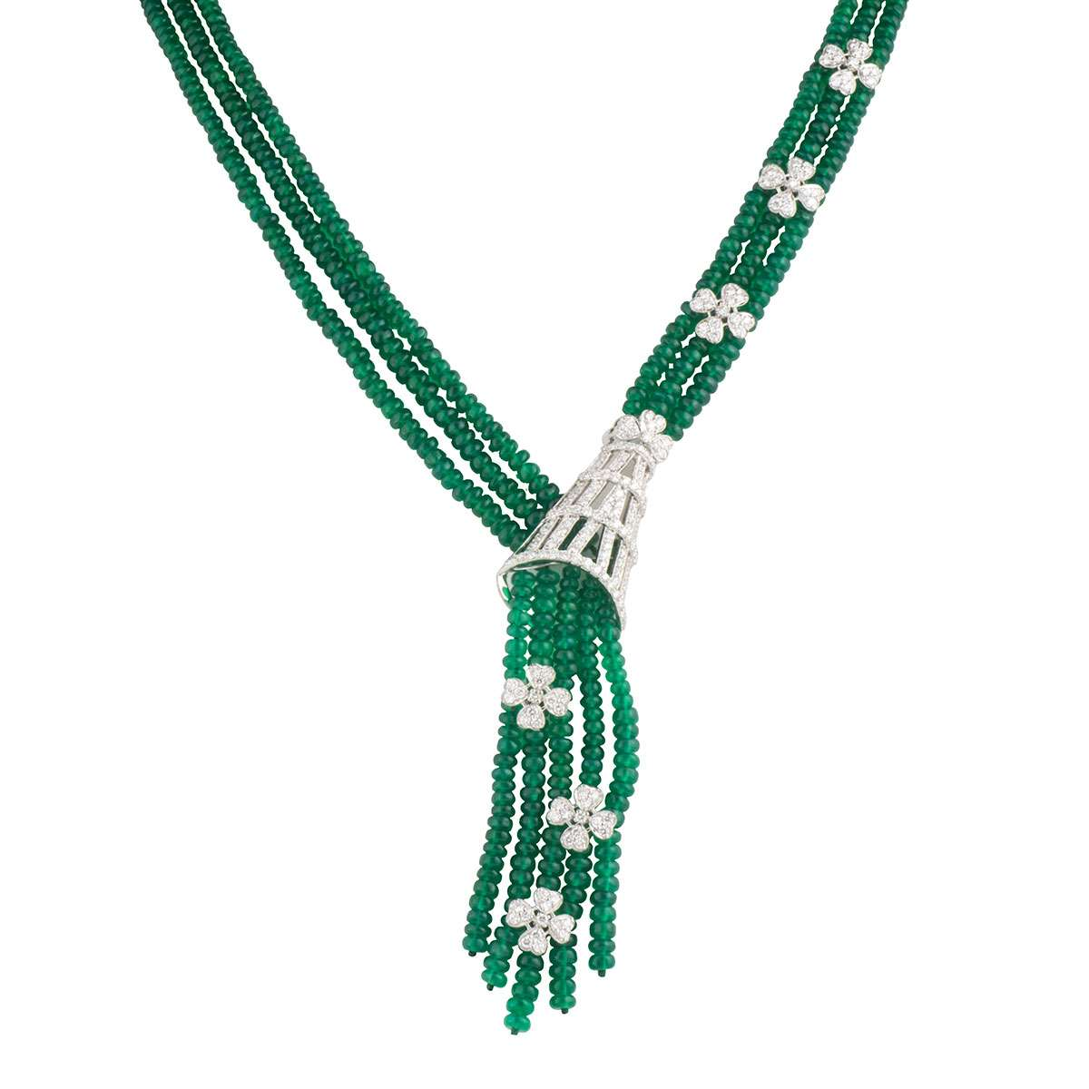 White Gold Emerald and Diamond Jewellery Suite